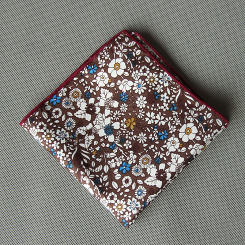 Mantieqingway Casual Floral Printed Small Handkerchief For Mens Suits Pocket Square Wedding 23cm*23cm Hankies Brand Accessories