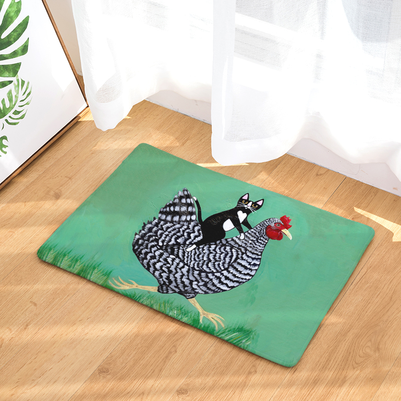 Welcome Floor Mat Naughty Cat Printing Flannel Entrance Carpet 40x60cm 50X80CM Kitchen Rug Bathroom Non-Slip Tapete