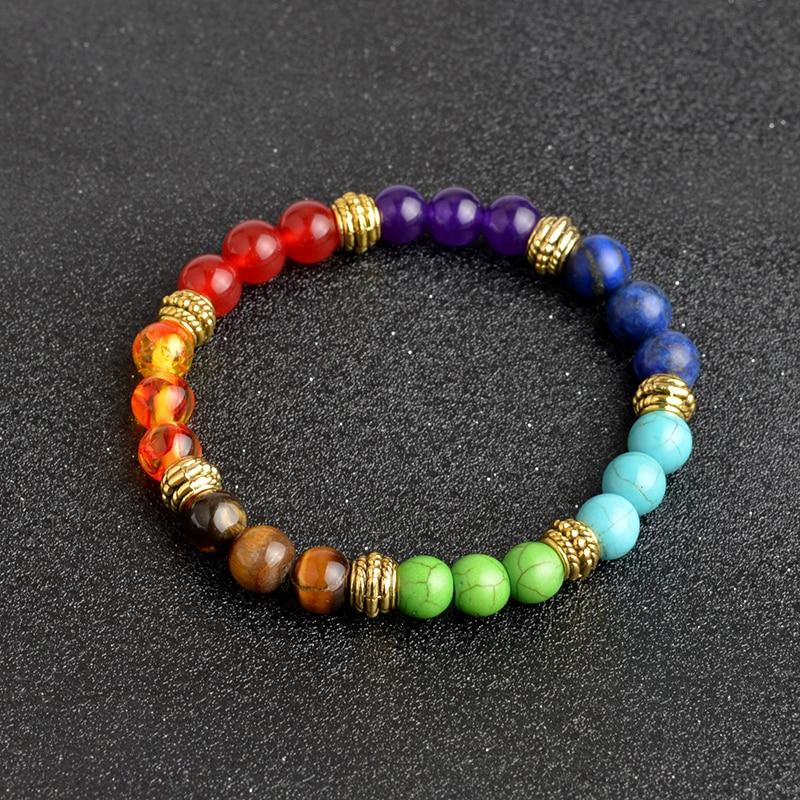QIHE JOYERÍA Multicolor 7 Chakra Healing Balance Beads Pulsera Yoga - Bisutería - foto 4