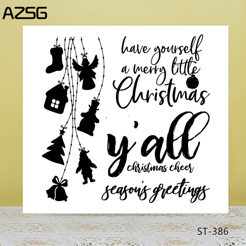 AZSG Cheer For Christmas Blessings Clear Stamps/Seals DIY Scrapbooking/Card Making/Album Decorative Silicone Stamp Crafts
