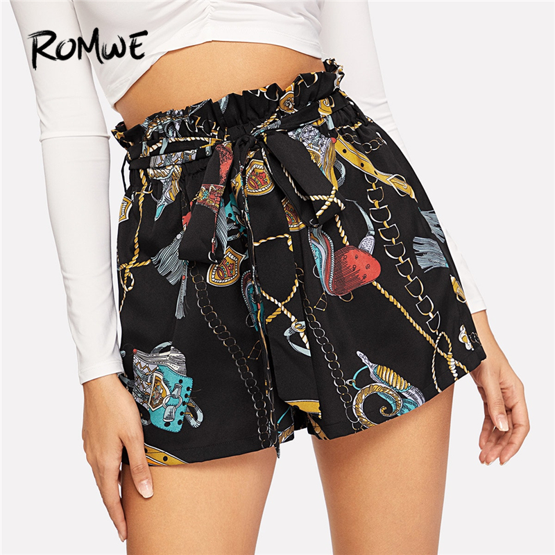 ROMWE Paperbag Waist Chain Print   Shorts   Mid Waist Belted   Shorts   Chic Style 2019 Summer Women Elastic Waist Wide Leg   Shorts