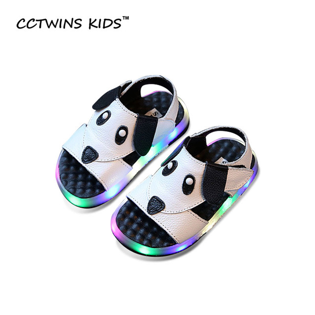 CCTWINS KIDS 2017 Summer LED light Toddler Boy Baby Girl Children Fashion Beach Brand Sandal Kid White Puppy Black Shoe B667