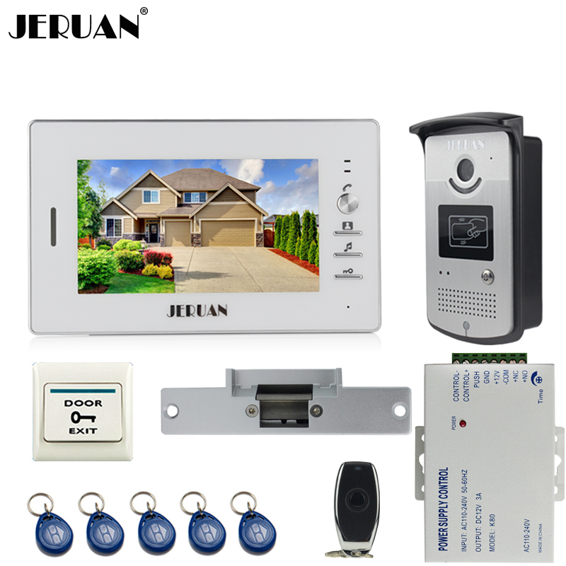 JERUAN Home Wired 7 inch LCD video door phone Entry intercom system kit 700TVL RFID Access IR Night Vision Camera
