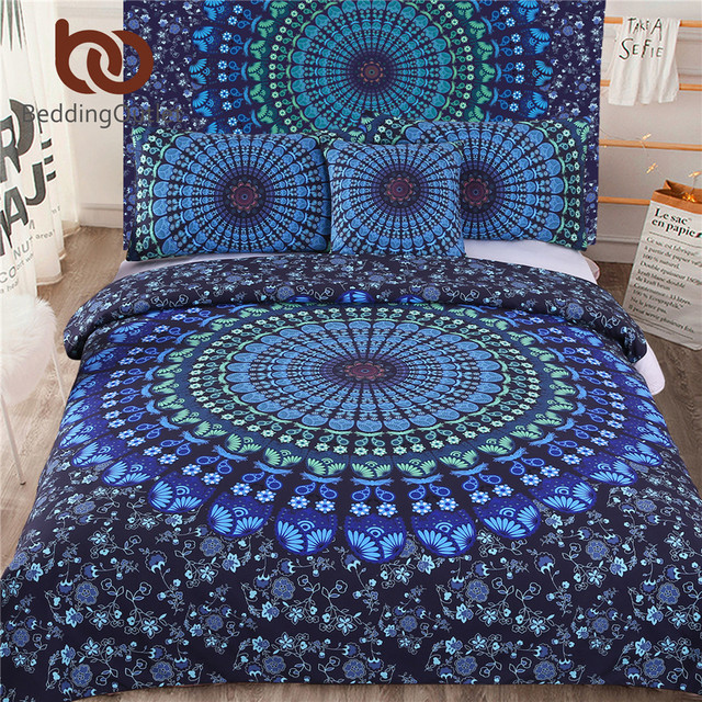 Beddingoutlet 5pcs Bed In A Bag Bedding Set Twin Full Queen King Blue Mandala Quilt Cover