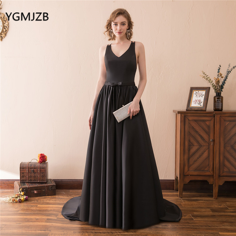 Robe De Soiree Formal Long   Evening     Dress   Black Satin A Line V Neck Spaghetti Straps Backless Sexy Women Prom   Dress     Evening   Gowns