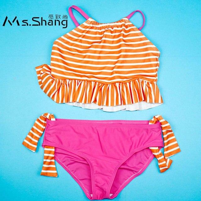 49c947e33ba1d Ms.Shang 2019 New Girl Child Swimsuit Baby Swimwear Bikini Crop Top Children  Swimsuits Girls Striped Infant Swimming Suit Kids