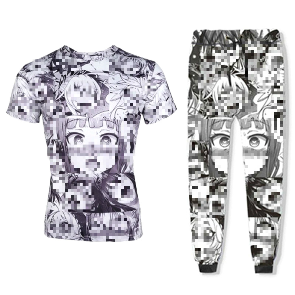 Ahegao Emoji Face <font><b>Anime</b></font> 3D <font><b>Sexy</b></font> Shy Girl Print Men Women T-<font><b>Shirts</b></font> Pants Summer Casual Funny Tee Tops Unisex Size S-5XL image