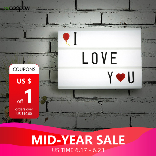 Woodpow A4 Size USB AA Battery LED Combination Night light Box DIY Letters Symbol Cards Decoration Lamp Message Board Lightbox