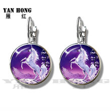 Vintage Horse Image Unicorn Charms Infinite Wrap Stud Earrings Silver Plated Earrings For Women Girls Best Gift(China)