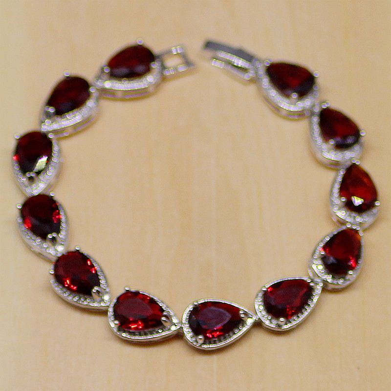 4e33d20ff064 Comprar Juego de joyas de plata de ley 925 circonio blanco CZ rojo gota de  agua pendientes de mujer colgante Collar anillo pulsera Online Baratos.