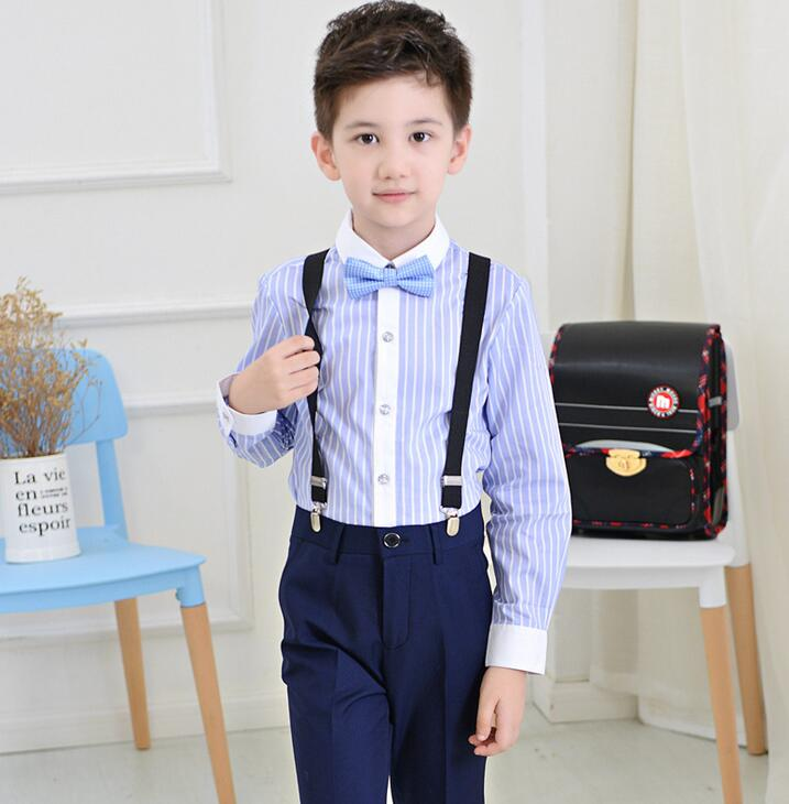 Spring Baby Boys Clothes Sets Gentleman Blue Stripe Formal Suits Boy Clothing Sets Wedding Suits Outfits(Pants+Shirt+Strap+Tie) одежда на маленьких мальчиков