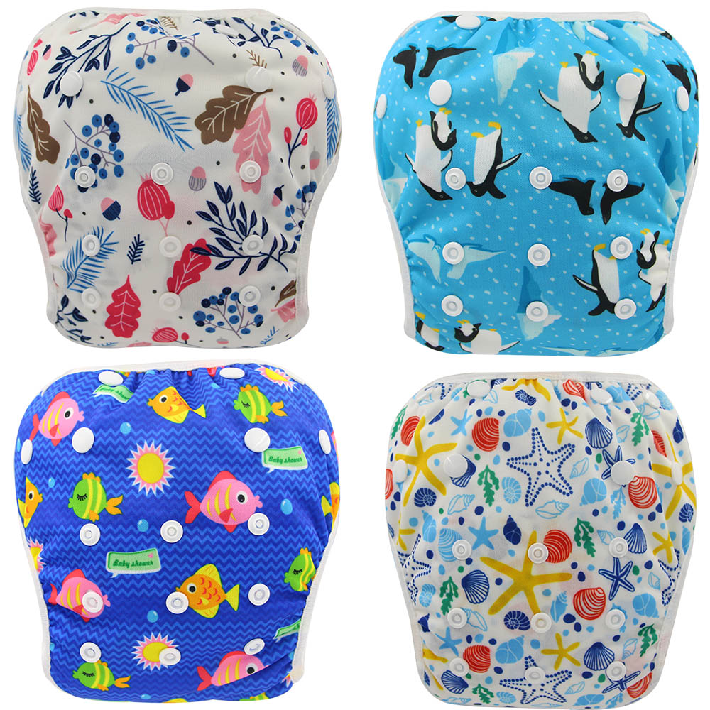 Ohbabyka Swiming Diapers Baby Pool Cloth Diaper Animal Print Newborn Infant Swim Diaper Cover Baby Swimwear Reusable Nappies