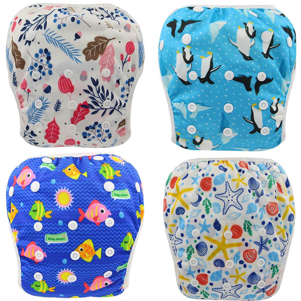 Ohbabyka Swiming Diapers Baby Pool Cloth Diaper Animal Print Newborn Infant Swim Diaper Cover Baby Swimwear Reusable Nappies