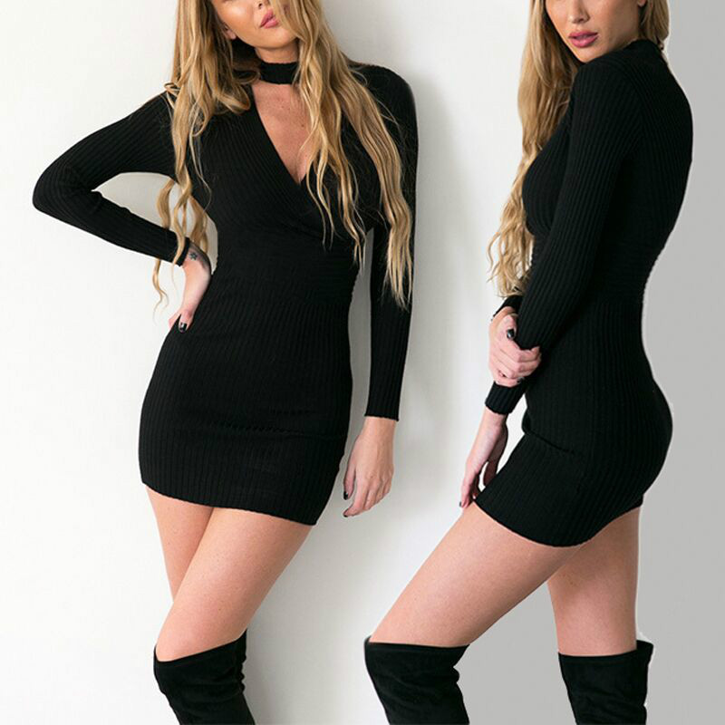 Coyote Valley High Quality Hot Style Long-sleeved V-neck Europe Package Of New Fund Of 2017 Autumn Is Hip Boutique Dress Sexy