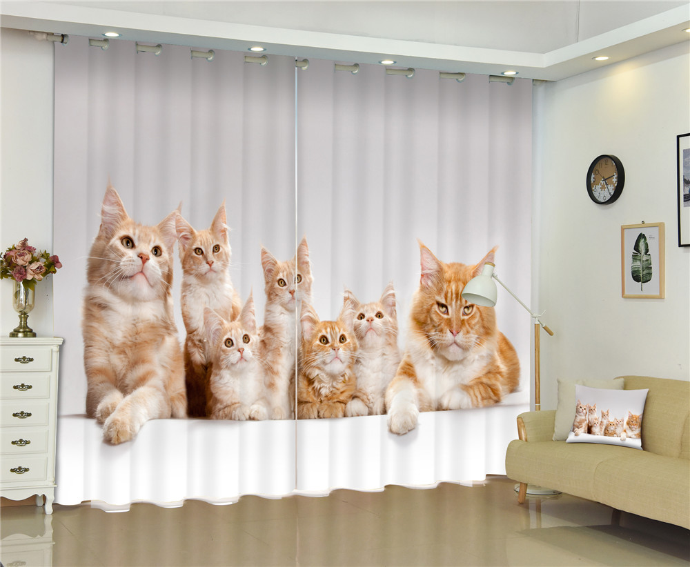 Cute Animals Cats Print 3d Window Curtains Drapes For