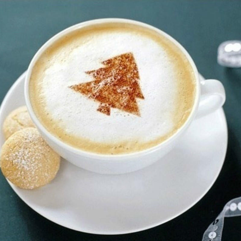 DIY Cakes Cupcake Cappuccino Latte Art Stencil Template Tool for Adults Kids Children Shopline Coffee Decorating Stencils 8 Pcs Christmas Style