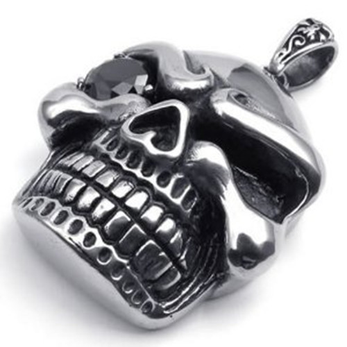 Heavy Large Stainless Steel Gothic Skull Pendant Biker Mens Necklace