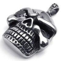 Heavy Large Stainless Steel Gothic Skull Pendant Biker Mens Necklace