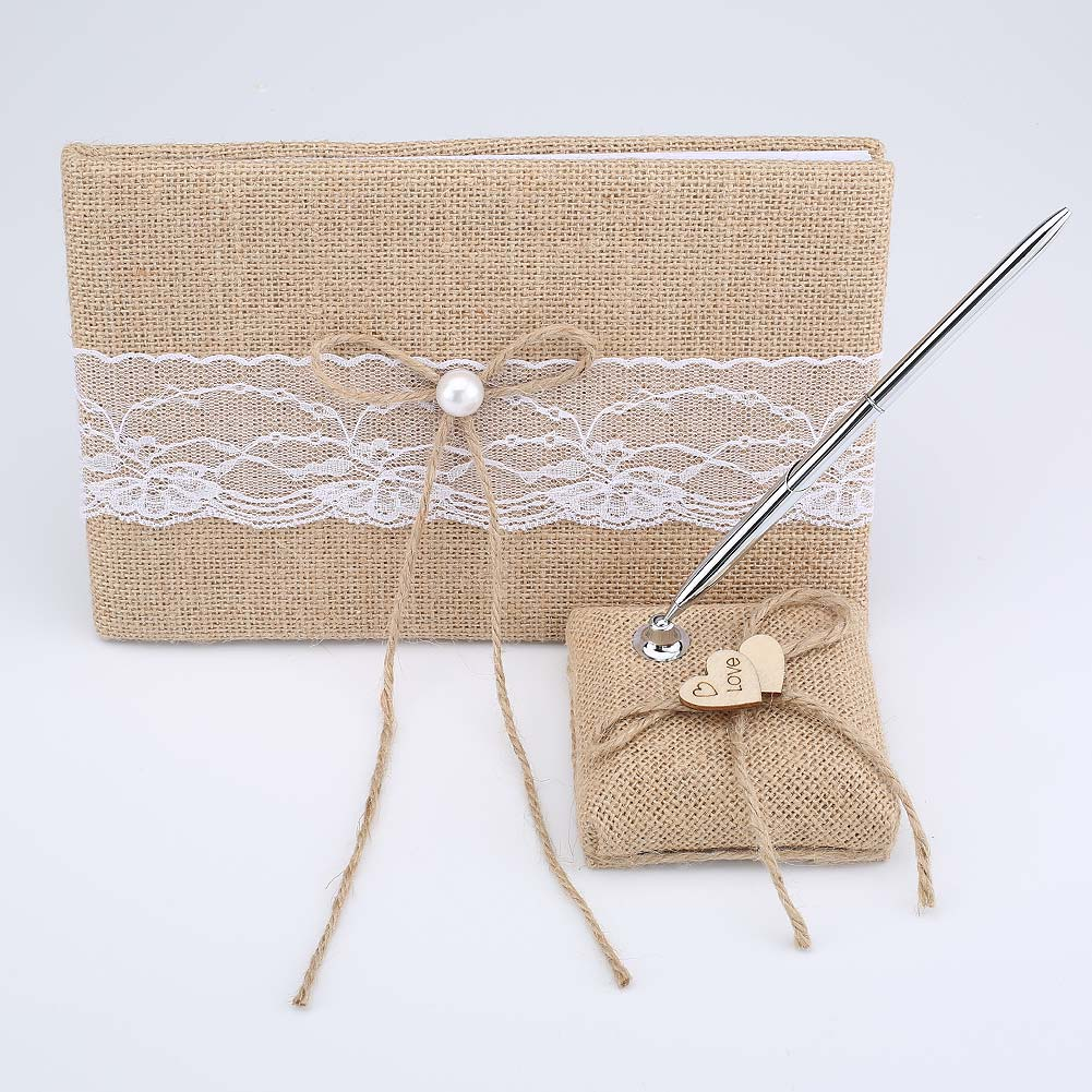 Hemp lace Vintage Personalized Wedding Guest Book Embellished Burlap Rustic Wedding Signature Guest Book and Pen Stand Souvenirs