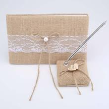 Libro de invitados de boda personalizado Vintage de encaje de cáñamo embellecido arpillera rústica libro de firmas de invitados de boda y soporte de pluma recuerdos