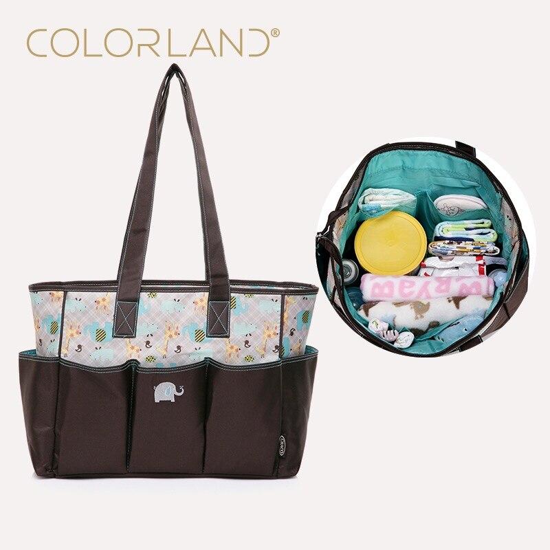 COLORLAND Diaper Bag For Mom Handbag Waterproof Wet Messenger Baby Bag For Stroller Fashion Mummy Maternity