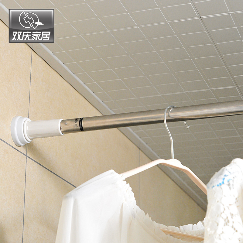 Retractable Shower Curtain Rod Straight Bathroom Pole Hole Digging In Poles From