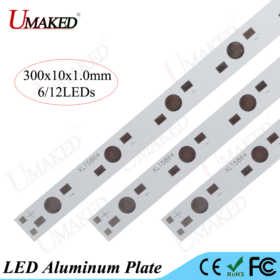 LED aluminum plate 1W 3W 5W high Power leds install LED PCB Board 300MM 6W 12W 60W lamp plate For Aquarium tube Grow light DIY электронные компоненты 1w 3w 24leds pcb diy 10