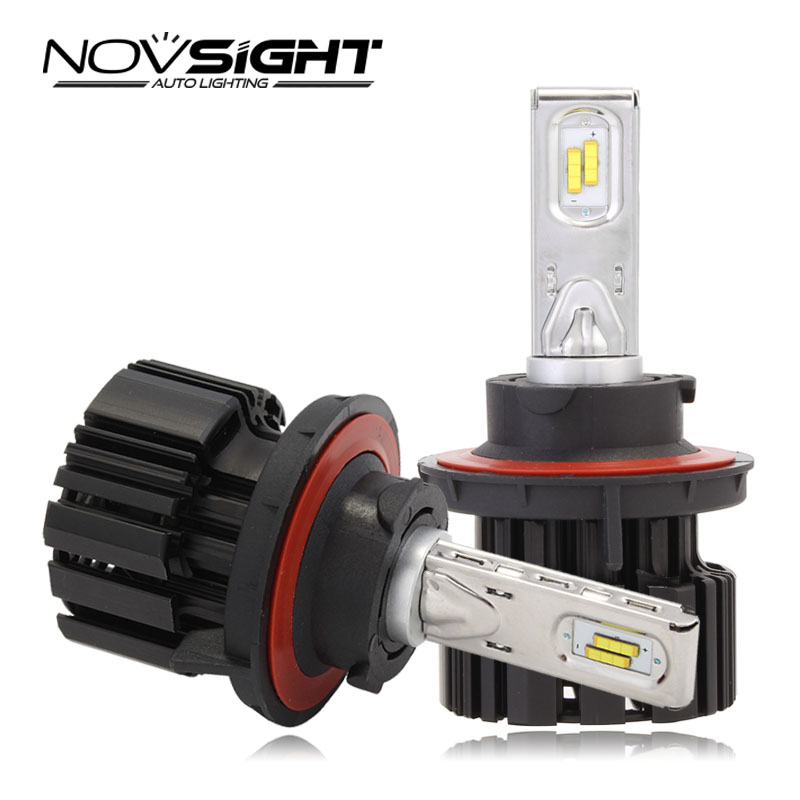 New NOVSIGHT H13 Hi/lo Beam Auto Car LED Headlights Fog Light Lamps Bulbs 80~86W 13600LM/Pair Cool White 6000K DRL Free Shipping  new h4 led cars headlights hi lo 25w auto led light bulbs lamp flip chip 2800lm 6000k white12v