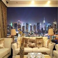 Custom Manhattan 3d Papel Wallpaper New York Mural Night View Landscape TV Papel De Parede 3d
