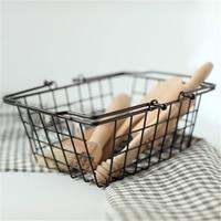 1 PCS Nordic minimalist wrought iron storage basket rectangular wire handle storage basket debris storage box AP10231534