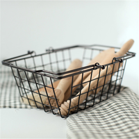 1 PCS Nordic minimalist wrought iron storage basket rectangular wire handle storage basket debris storage box AP10231534