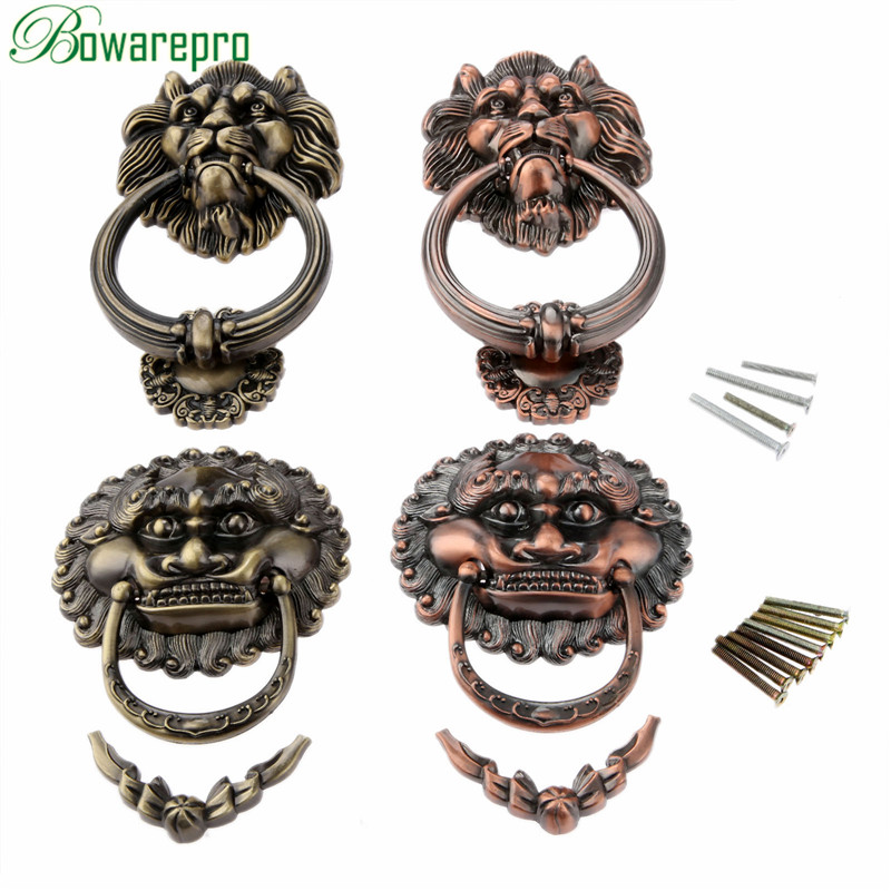 bowarepro Antique Handles Vintage Lion Head Drawer Cabinet Knobs and Handles Doorknockers Rings Pulls Hardware Furniture 130MM red copper antique brass golden lion head cabinet ring handles antique bronze cartoon single knobs drawer pulls closet drawer page 4