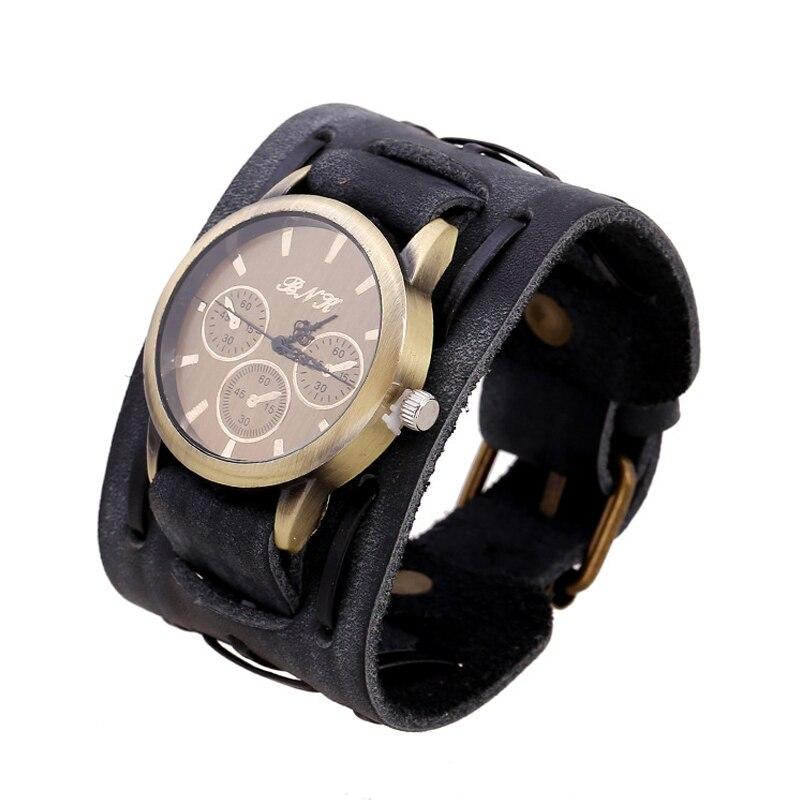 € 3.93 5% de DESCUENTO|Relojes con dijes antiguos para hombre, pulseras de cuero genuino, reloj de pulsera ancho, brazalete de motociclista, relojes