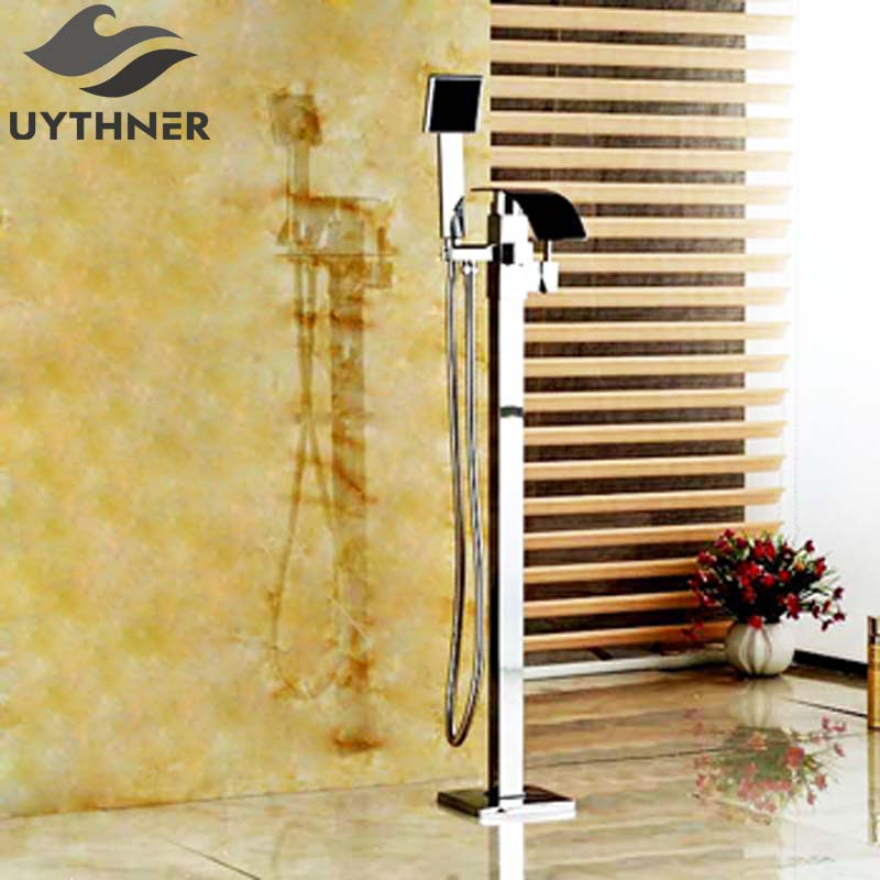 Недавно хром закончил Bathtoom ванной кран Одной ручкой пол тип Ванна Смеситель кран W/ручной душ