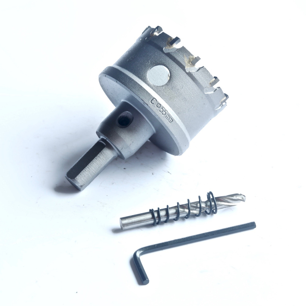 1PC of industrial quality 55mm TCT hole saw core bit for stainless steel hole drilling&opening with triangle handle 10-12mm quality 95mm diameter tct hole saw drill bits core bits for stainless steel drilling hole opener triangle shank 10 12mm diameter