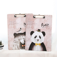 Hot 1pc A4 MDF Clipboard with Hook Cute Animal Writing pad File/menu clipboard with plate clip Office/School supplies