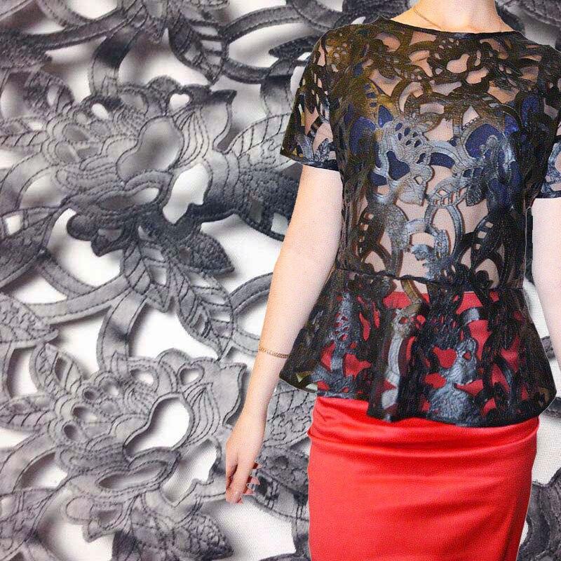 1Yard Μαύρο Faux Pu Δερμάτινα Γαλλικά Τούλι Υφασμάτινο Δαντέλο για Φόρεμα, Πλάτος 130cm, Αφρικανική Ενδυμασία Ραπτική Υφασμάτων Lace Fabric DIY Πανί