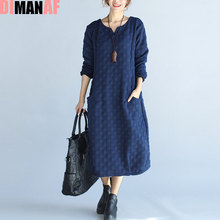 DIMANAF Plus Size Autumn Dress Women Polka Dot Female Casual 2017 Cotton Fashion Warm Blue Thickening Basic Dresses With Pocket