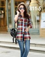 높은 품질의 패션 탑 블라우스 여성 블라우스 긴 소매 셔츠 여성 격자 무늬 여성 슬림 셔츠 811-WW