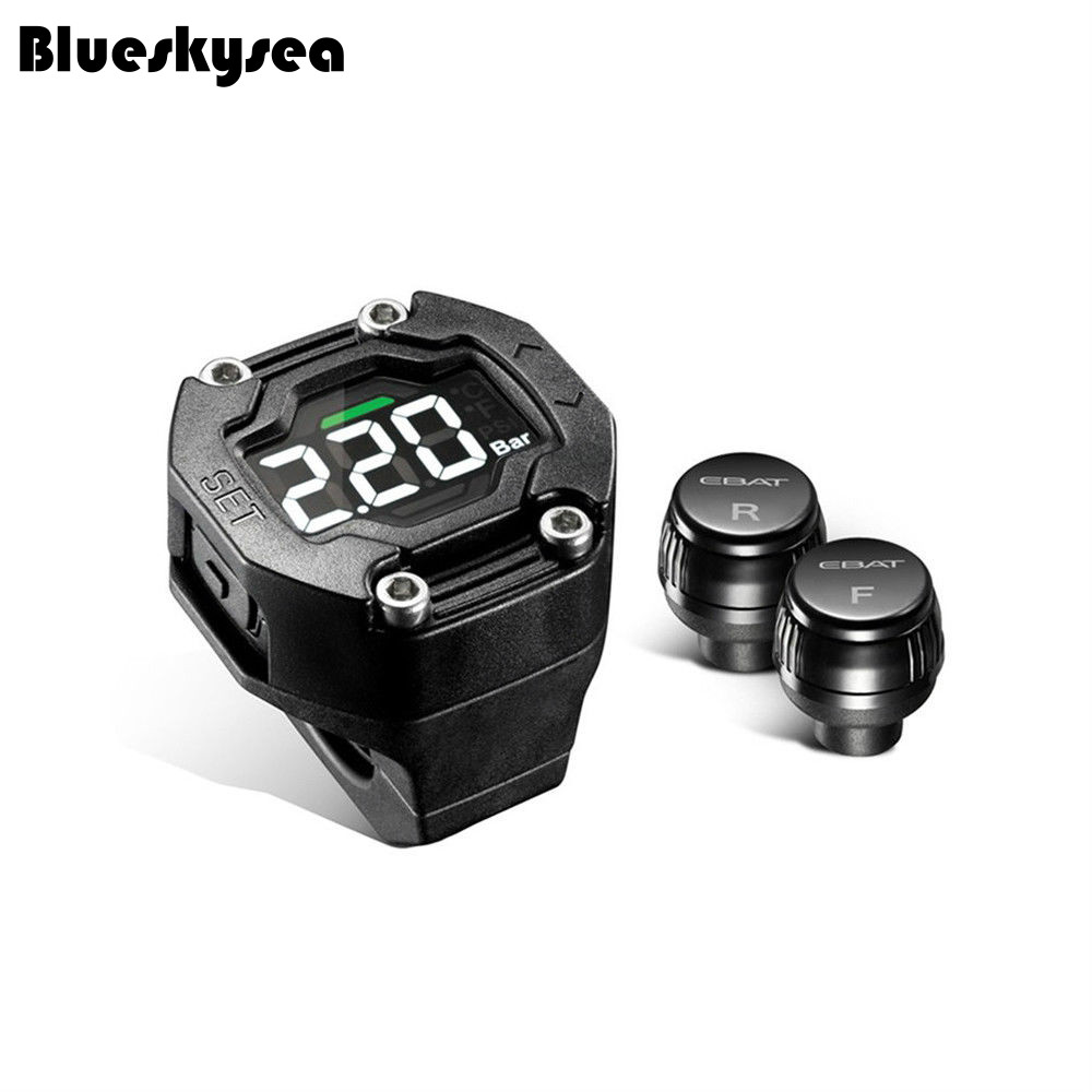 Blueskysea LCD Display Motorcycle font b TPMS b font Tire Pressure Monitor Waterproof 2 Sensor For