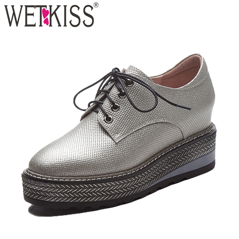 WETKISS Spring Casual Flats Women Wedges Square Toe Print Shoelaces Footwear 2018 Fashion Platform Sneaker Elevator Girl Shoes