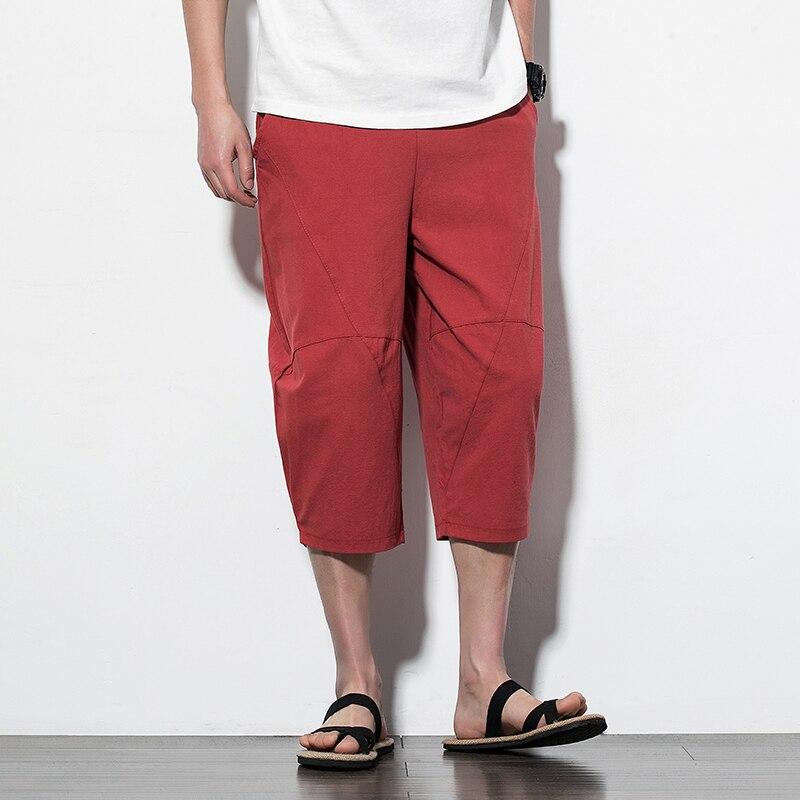 5 Colors Men Summer Casual Pant Male Loose Middle Trousers Cotton Linen Harem Pants
