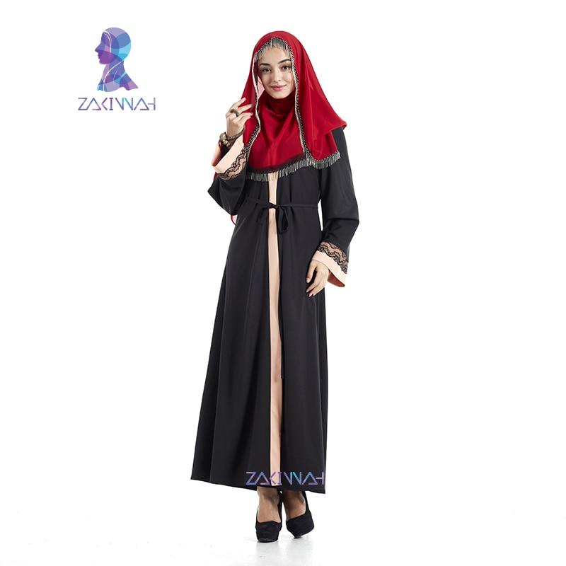 Haute Qualité Dentelle Noire Abaya Robe Musulmane Pour Femmes - Vêtements nationaux - Photo 2