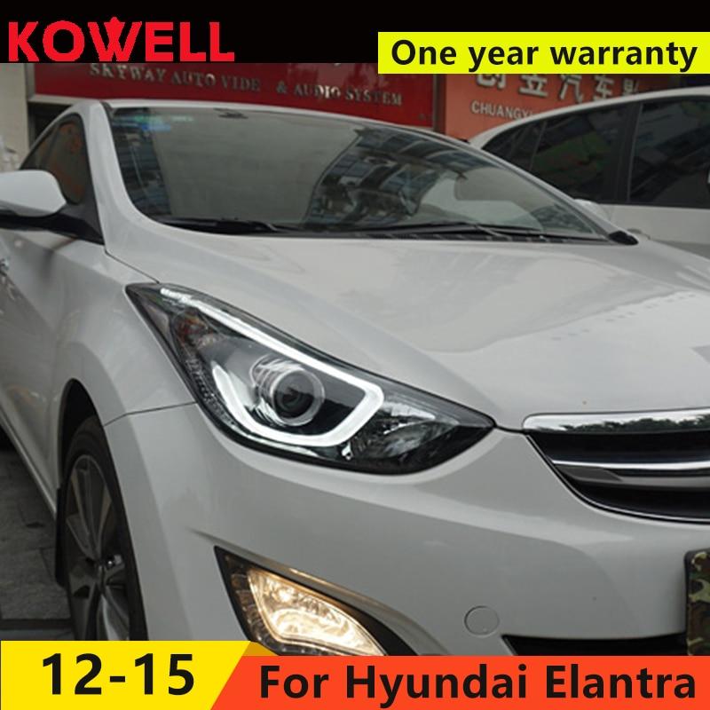 KOWELL Car Styling For 2012 2017 Hyundai Elantra Headlights Streamer turn LED light headlight DRL Bi