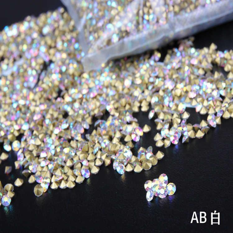 サイズss2-ss19クリスタルabガラスpointbackシャトンnairlアートクリスタルラインストーンラウンドネイルアート装飾1400ピースあたりパック
