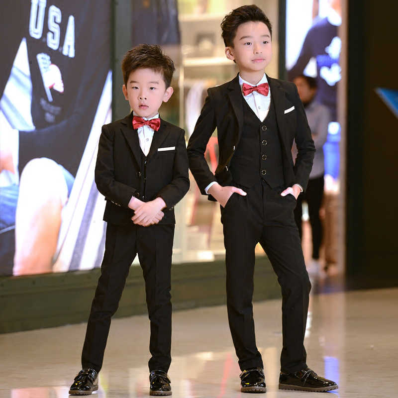 7dba9dc9 ... 5pcs kids boys suits set boy black formal clothes suit for wedding  tuxedo teenage student clothing ...