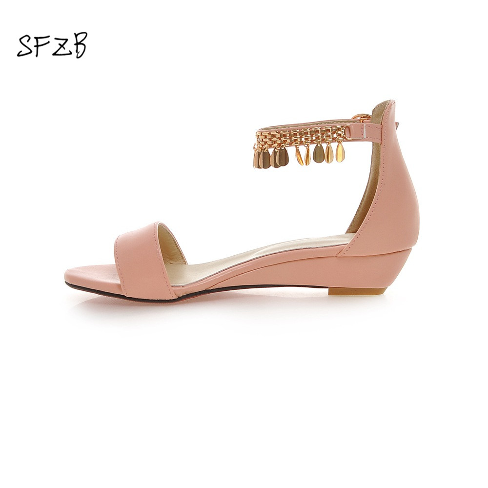 SFZB Sweet Summer Shoes buckle Women Sandals wedges Med Heel Sandals open Toe Pink Dating Shoes Size 34-43