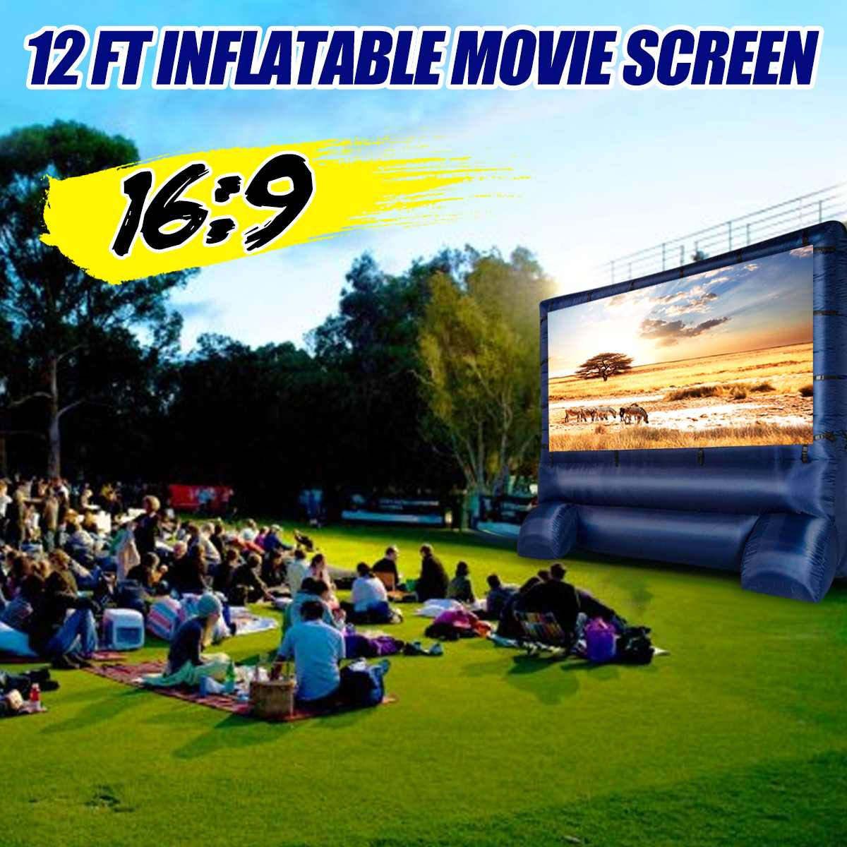 16:9 Large Screen 12 Widescreen Home Family Airblown Inflatable Movie Screen Decor Party Meeting Backyard Outdoor16:9 Large Screen 12 Widescreen Home Family Airblown Inflatable Movie Screen Decor Party Meeting Backyard Outdoor