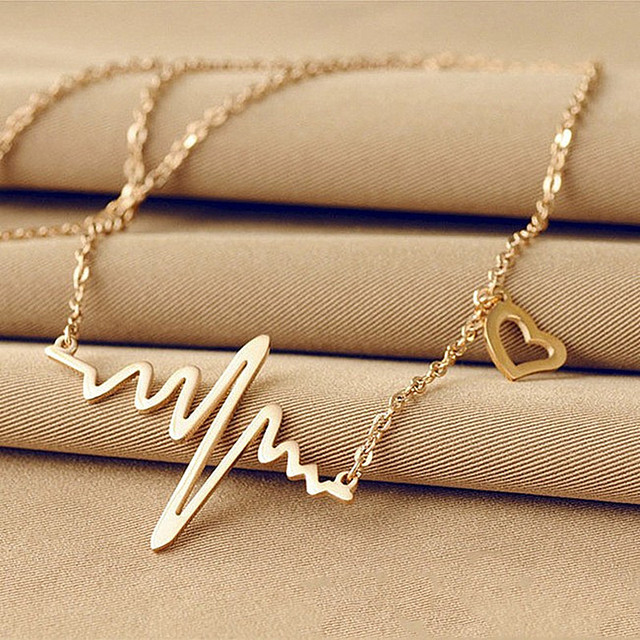 N681 Fashion Jewelry For Women ECG Heart Necklace Clavicle Choker Pendant Necklaces Heartbeat Collares 2017 Promotion