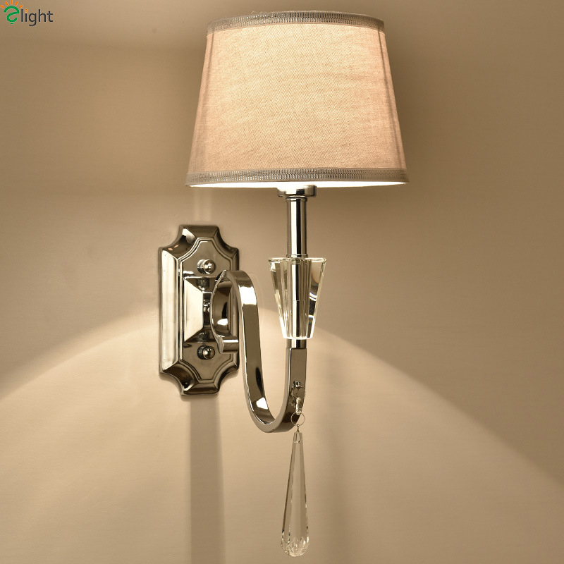 Modern Lustre Crystal Led Wall Lamp Simple Chrome Metal Bedroom Lamps Fixtures Dining Room Light Luminaria Sconce